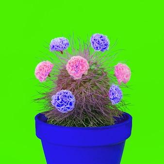 Kleurrijk cactus en rozendecor. minimaal modecactus creatief concept