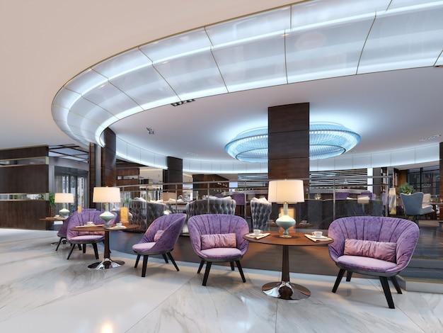 Kleurrijk café- en restaurantinterieur met een marmeren vloer, ronde houten tafels en paarse bekledingsstoelen. 3d-rendering