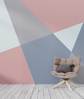 Kleurrijk de murenmodel van de woonkamer binnenlands met achtergrond van de leunstoel de witte kleurrijke muur