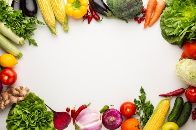 Kleurrijk groentenframe met exemplaarruimte