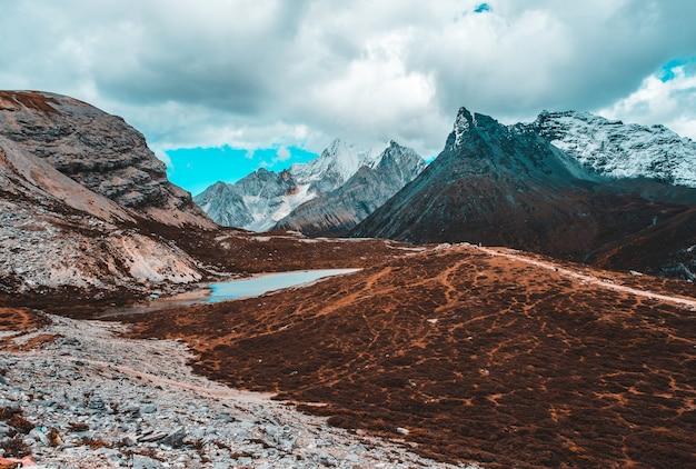 Kleurrijk in de herfstbos en sneeuwberg bij yading-natuurreservaat