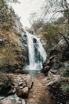 Kleurrijk landschap van een enorme waterval in het bos