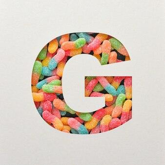 Kleurrijk lettertype ontwerp, abstract alfabet lettertype met gelei, realistische typografie - g.