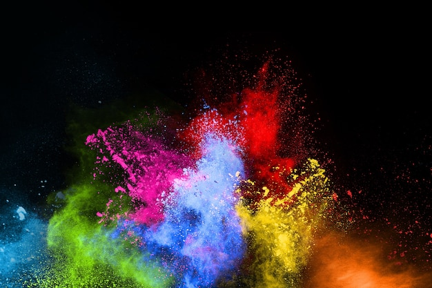 Kleurrijk stof explodeert. verf holi.