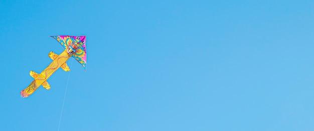Kleurrijk vliegeren in de blauwe lucht. zomerspelen en plezier. banier.