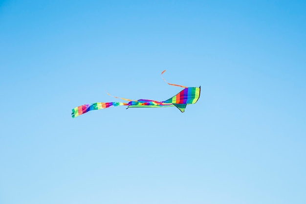Kleurrijk vliegeren in de blauwe lucht. zomerspelen en plezier.