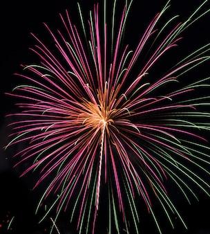 Kleurrijk vuurwerk in de nachthemel