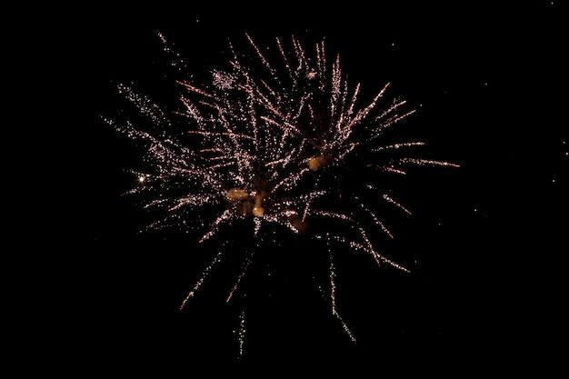 Kleurrijk vuurwerk op de zwarte lucht
