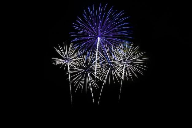 Kleurrijk vuurwerk over donkere hemel