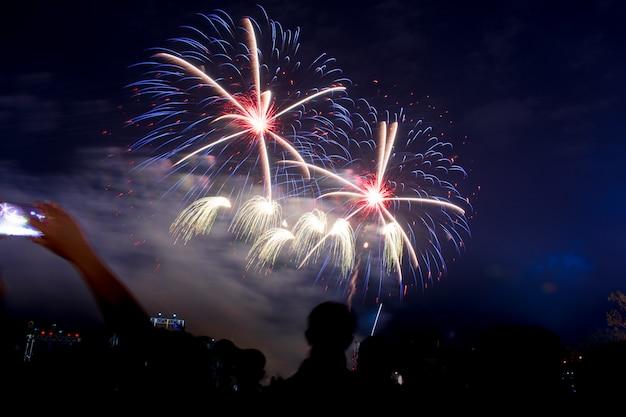 Kleurrijk vuurwerk 's nachts verlicht de hemel met oogverblindende weergave.