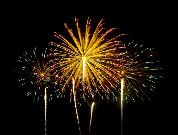 Kleurrijk vuurwerk van verschillende kleuren over de nachtelijke hemel - levendig kleureffect