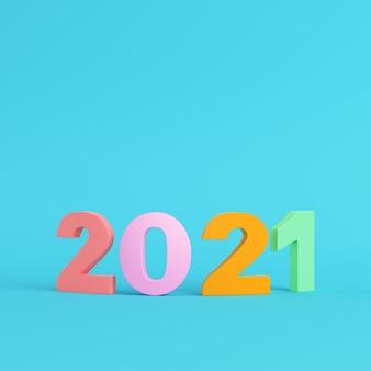 Kleurrijke 2021 cijfers 3d-rendering