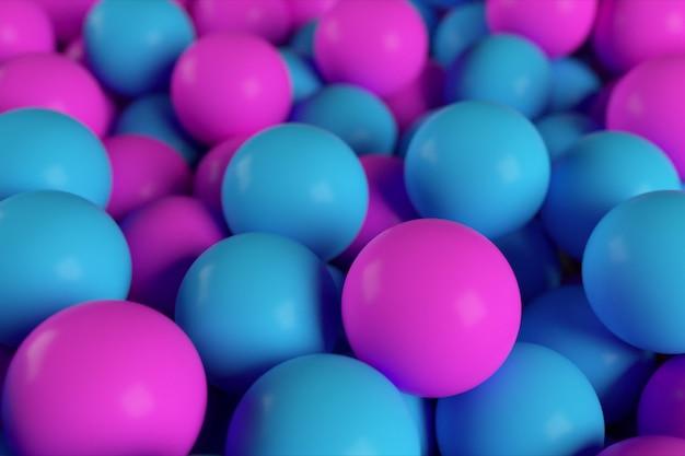 Kleurrijke 3d illustratie achtergrond van abstracte blauwe en paarse bollen