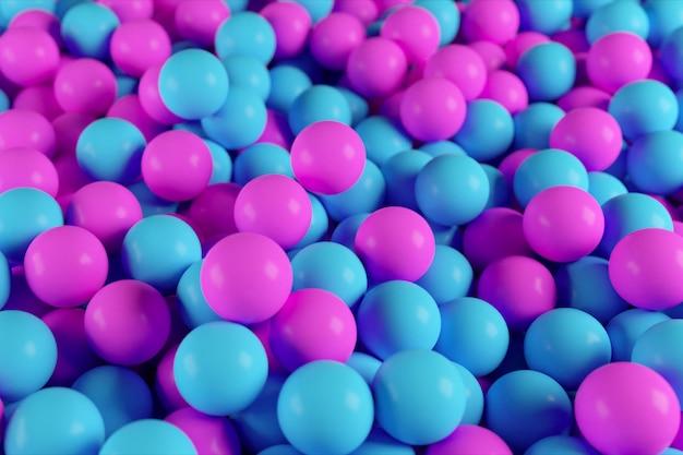 Kleurrijke 3d illustratie van een stapel van abstracte blauwe en paarse bollen