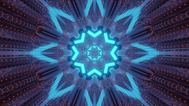 Kleurrijke abstracte futuristische technische achtergrond binnenkant van verlichte tunnel met sporen van blauwe neonstralen in de vorm van geometrische bloem en metalen panelen met lichte stippen