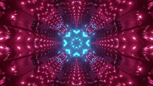Kleurrijke abstracte sci fi achtergrond van eindeloze tunnel met geometrische bloemvormige gaten in rode en blauwe neonlichten