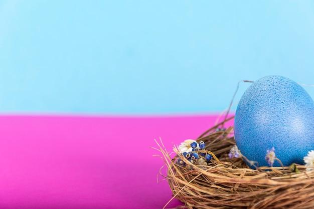 Kleurrijke achtergrond met paaseieren op roze en blauwe achtergrond. vrolijk pasen-concept.