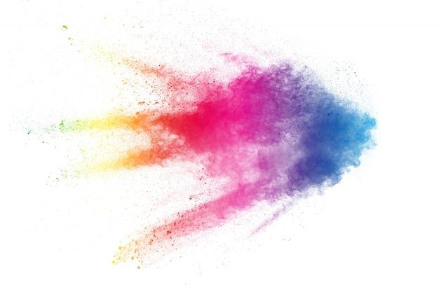 Kleurrijke achtergrond van pastel poeder explosie. multi-gekleurde stof splash op witte achtergrond. geschilderde holi.