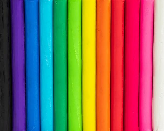 Kleurrijke achtergrond van plasticine. veelkleurig van het modelleren van kleitextuur.