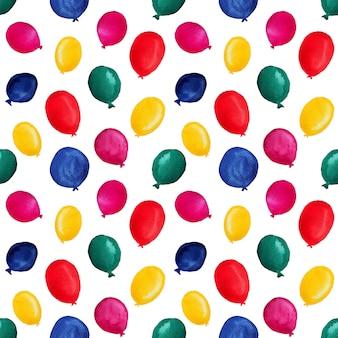 Kleurrijke aquarel ballonnen in naadloos patroon
