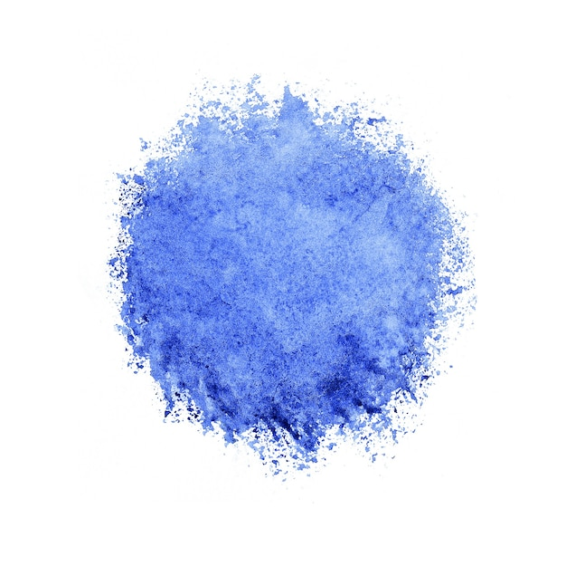 Kleurrijke aquarel cirkel, blauwe druppel op witte achtergrond