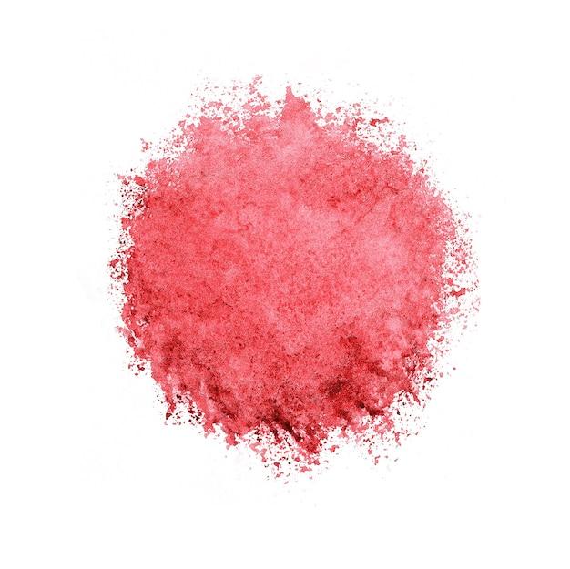 Kleurrijke aquarel cirkel, rode druppel op wit