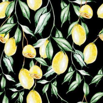 Kleurrijke aquarel patroon met citroen fruit en bloemen. illustraties.