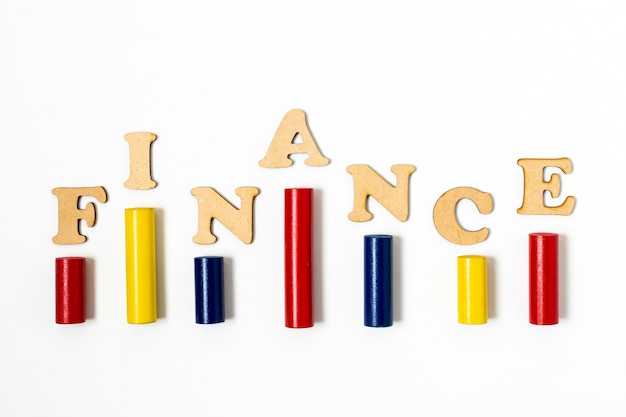 Kleurrijke balkstatistieken met financiële letters