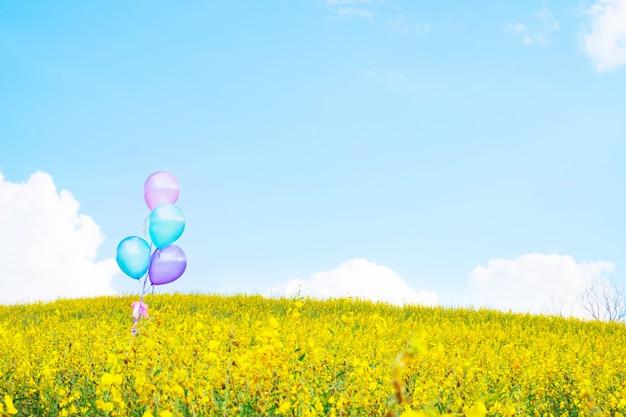 Kleurrijke ballon over gele bloem velden met blauwe hemel achtergrond, vintage effect