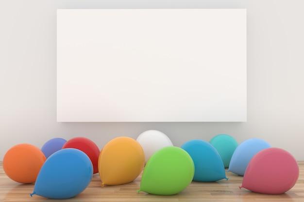 Kleurrijke ballonnen in witte kamer