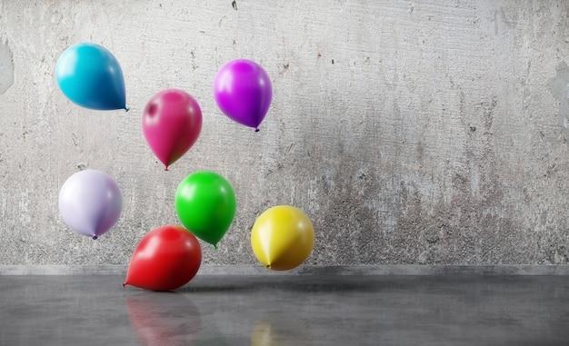 Kleurrijke ballons die op grungemuur drijven