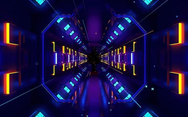 Kleurrijke beweging ontwerp achtergrond met symmetrisch patroon. abstracte sci-fi achtergrond met gloeddeeltjes vormen lijnen, oppervlakken, hologram of virtuele digitale ruimte.