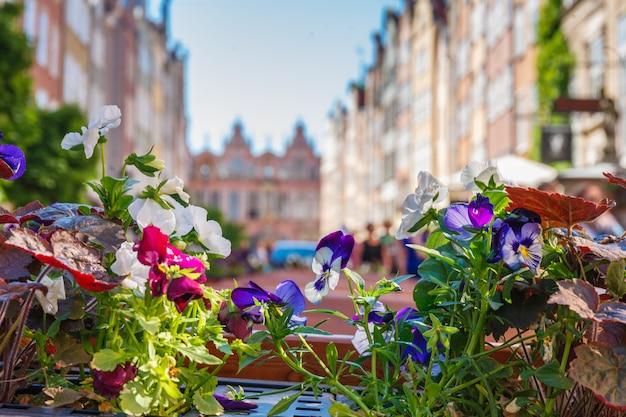 Kleurrijke bloemen tegen wazige straatgebouwen