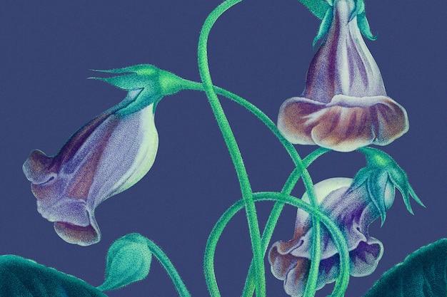 Kleurrijke bloemenachtergrond met gloxinia-illustratie, geremixt van kunstwerken uit het publieke domein