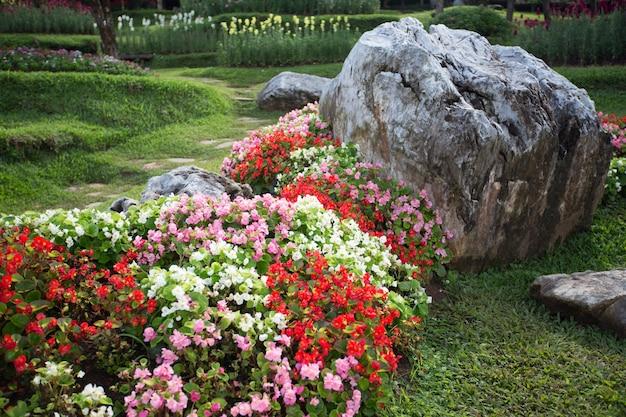 Kleurrijke bloementuin en de rots