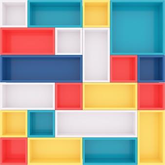 Kleurrijke boekenplankachtergrond. 3d-rendering.