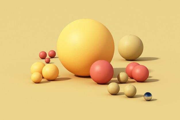 Kleurrijke bolbal op gele achtergrond. 3d render