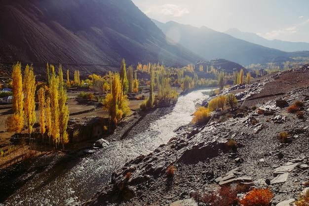 Kleurrijke bomen in de herfst met glanzende gilgit-rivier tegen hindu kush-bergketen