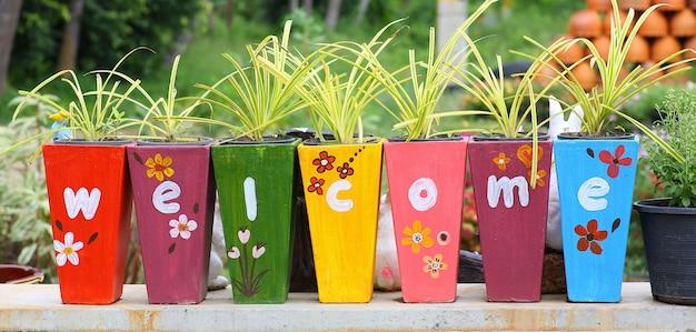 Kleurrijke boompot met welkomstteken