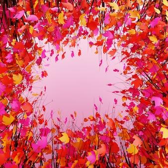 Kleurrijke circlwbladeren of bloemframe achtergrond