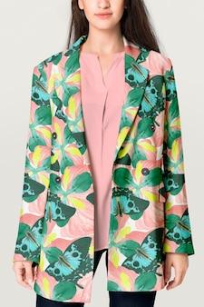 Kleurrijke damesblazer met tropisch ontwerp, zakelijke kledingmode