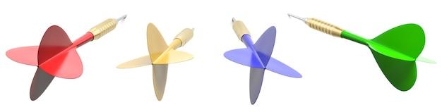 Kleurrijke darts geïsoleerd op wit