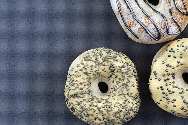 Kleurrijke donut grafische pixel op grijze achtergrond. 3d-weergave