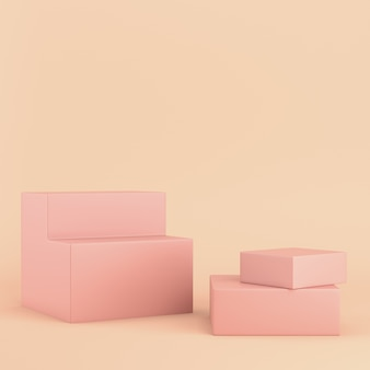 Kleurrijke dozen op roze pastel met kopie ruimte. 3d-weergave