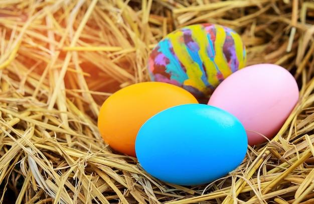 Kleurrijke eieren op stro voor pasen