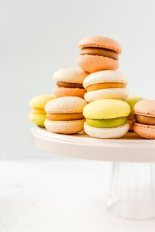 Kleurrijke franse macarons op een roze plaat op wit