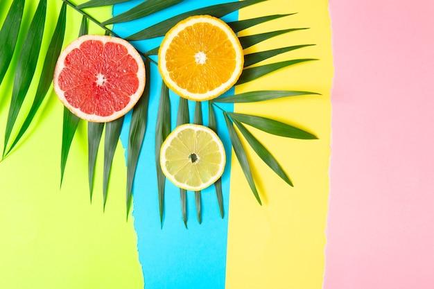 Kleurrijke fruit tropische compositie van verse citrus, citroen, sinaasappel en grapefruit met palmbladeren op lichte achtergrond. zomervoedsel creatief plat gelegd.