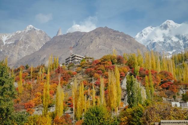 Kleurrijke gebladerte bosbomen in de herfstseizoen en sneeuw afgedekte bergpiek in karakoram-waaier.