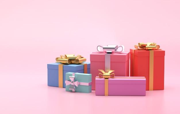 Kleurrijke geschenkdozen op roze achtergrond, kopie ruimte voor tekstadvertentie, 3d illustratie