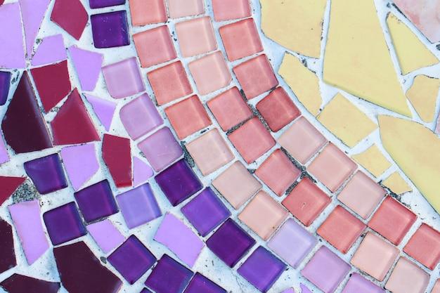 Kleurrijke glas en tegelmuurtextuurachtergrond, mozaïekart
